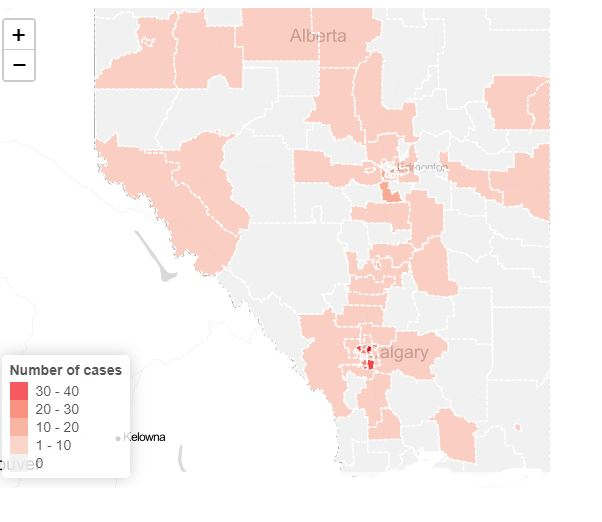 Heat Map of Alberta COVID Cases, March 26, 2020